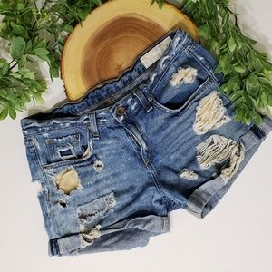 Rag & Bone Boyfriend Jean Shorts Heavy Distressing